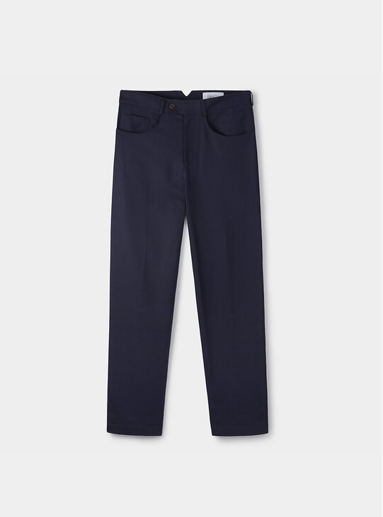 Navy Linen Casual Trousers