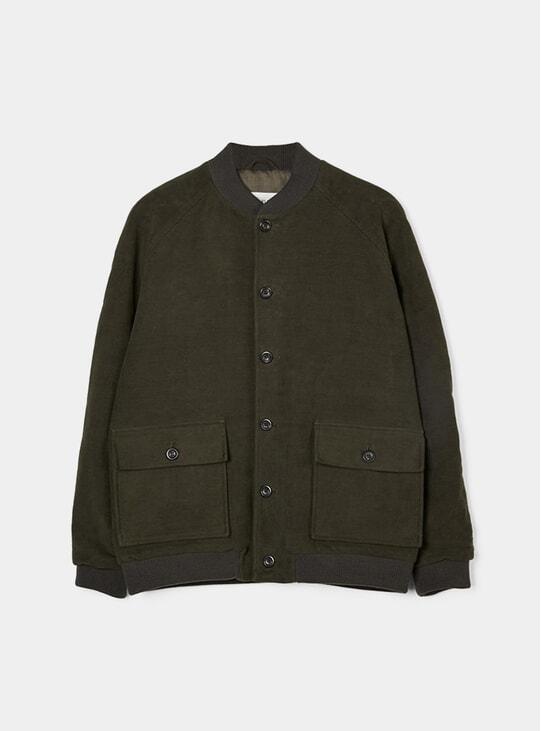 Olive Moleskin Bomber Jacket