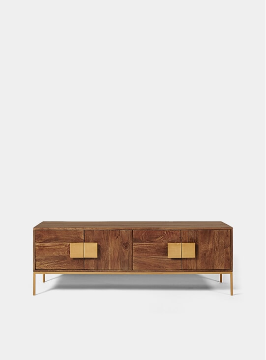 Banner Mango Wood / Antique Brass TV Stand