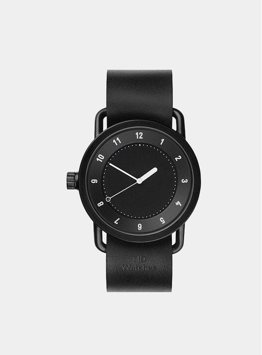 Black / Black Leather No.1 40mm Watch