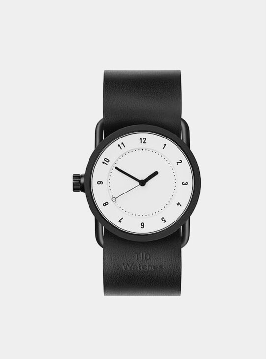 White / Black Leather No.1 33mm Watch