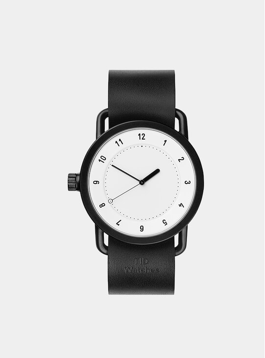 White / Black Leather No.1 40mm Watch