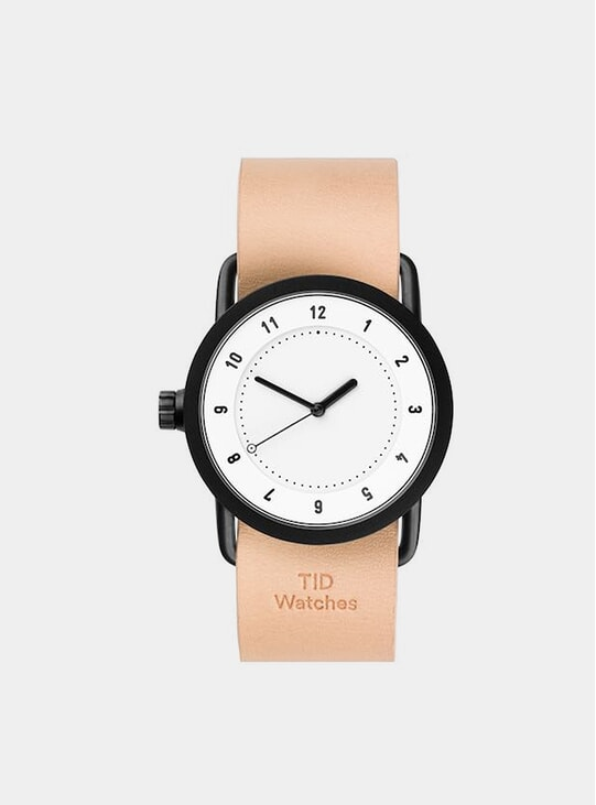 White / Natural Leather No.1 36mm Watch
