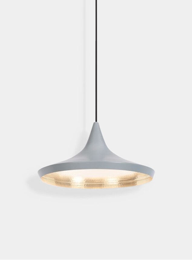 Grey Wide Beat Pendant Lamp