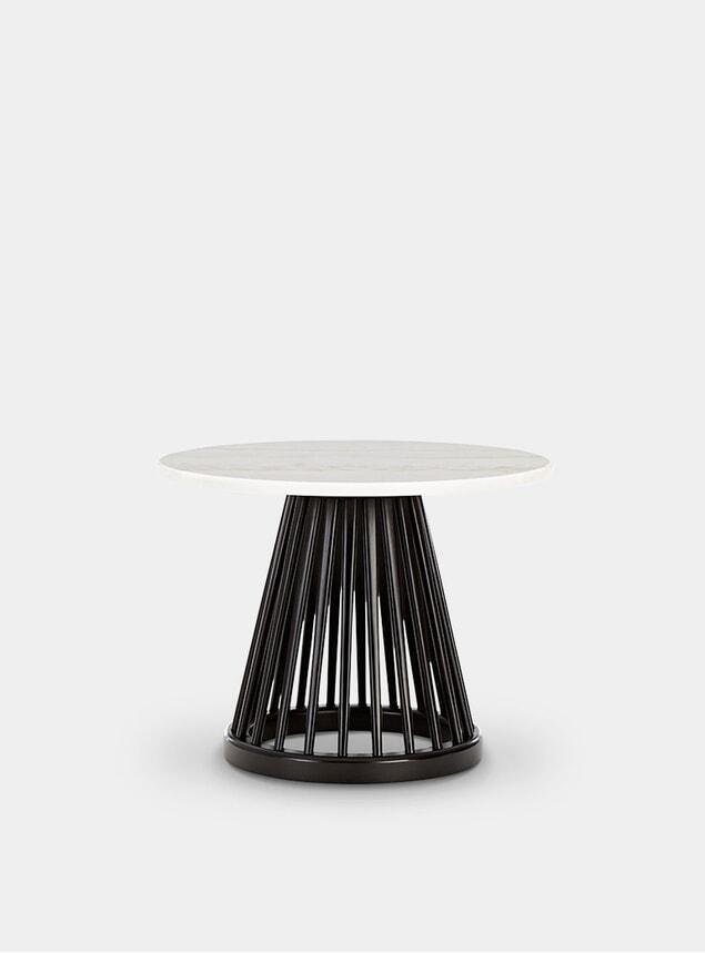 White Marble / Black Oak Fan Table