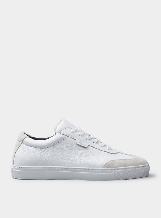 White Tumbled Leather & Suede Series 3 Sneakers