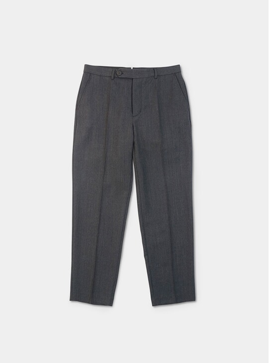Black / Anthracite Wool Textured Twill Volume Trousers