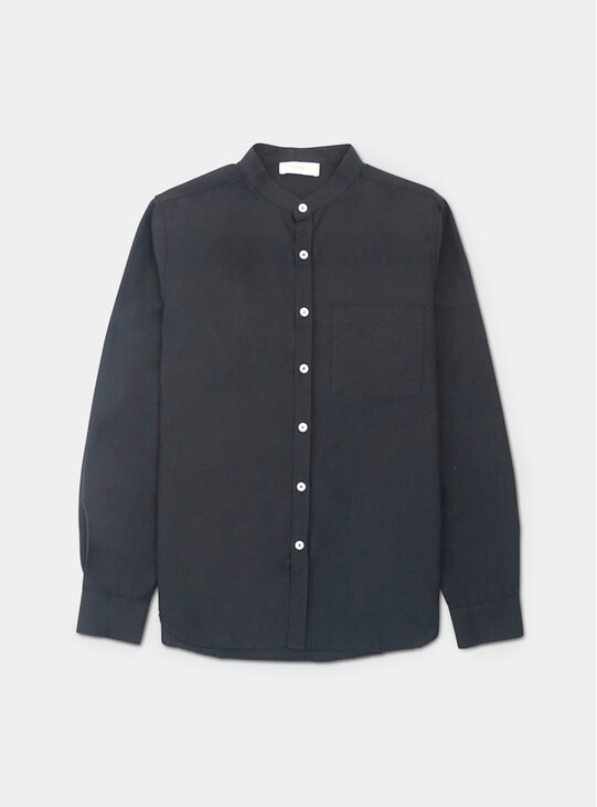 Black Oxford Mandarin Shirt