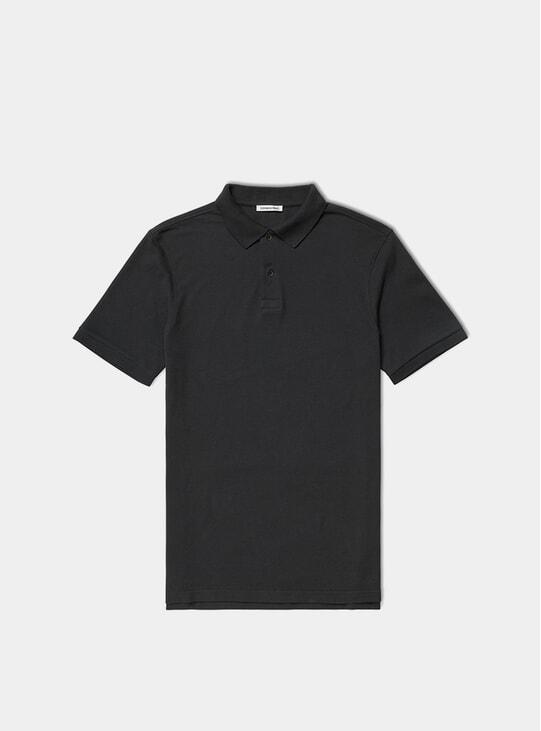Black Pique Polo