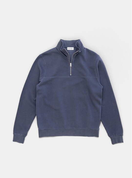 Dusty Blue Half-Zip Sweater