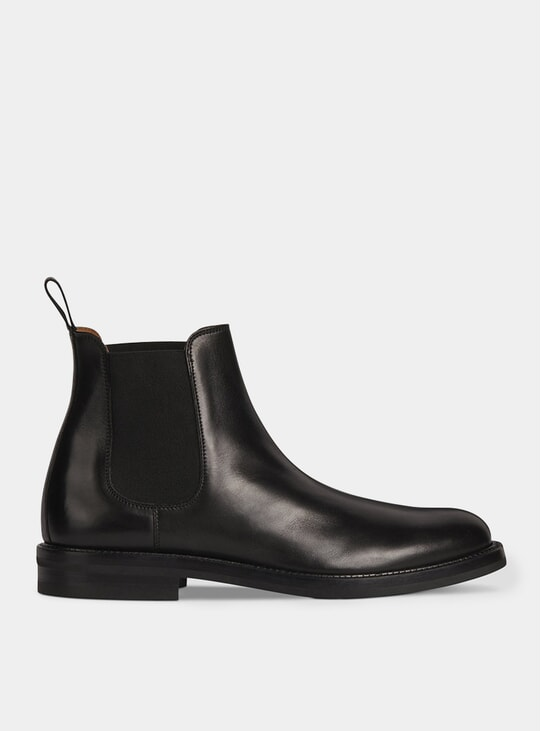 Black Smooth Calf Leather Magut Chelsea Boots