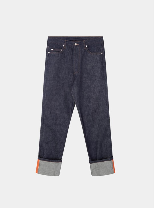 Raw Blue / Orange Grosgrain Denim Jeans