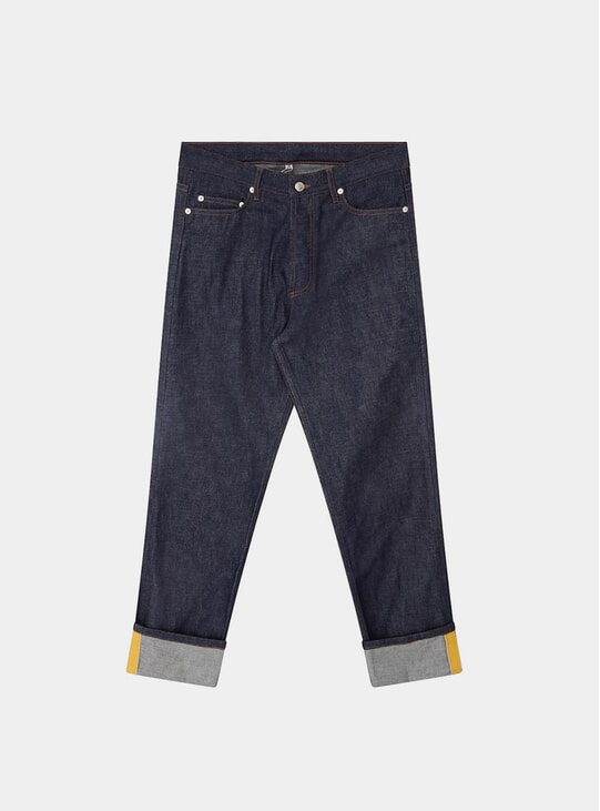 Raw Blue / Yellow Grosgrain Denim Jeans