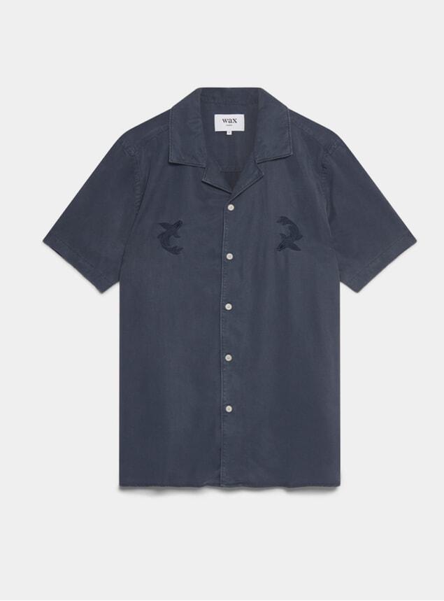 Faded Navy Didcot Short Sleeve Shirt