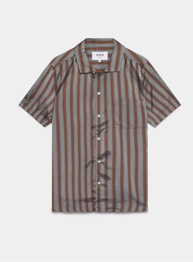 Grey Stripe Fazely Short Sleeve Shirt