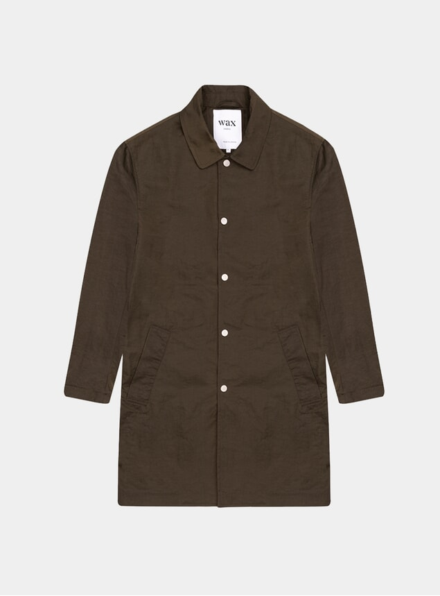 Khaki Navarino Creased Tech Coat