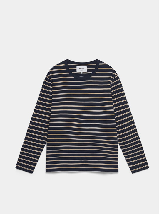Mustard / Navy Ridley Long Sleeve T Shirt