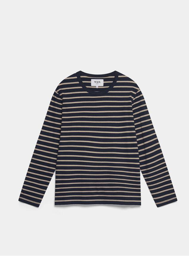 Mustard / Navy Ridley Long Sleeve T Shirt