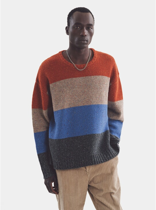 Multi Bash Block Stripe Crew Neck