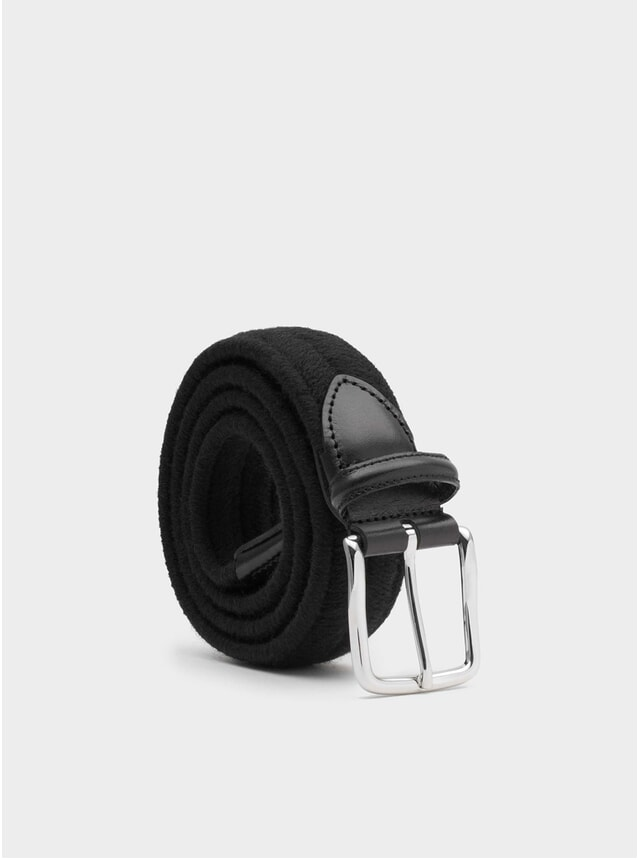 Black Elastic Wool Giorgio Belt