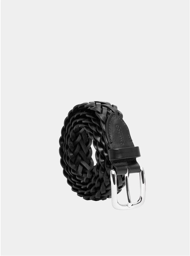 Black Hand-Braided Cesare Leather Belt