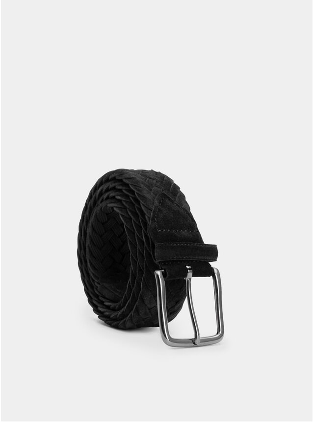 Black Suede Braided Ernesto Belt