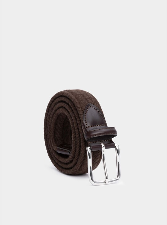 Brown Elasticated Wool Stefano Belt