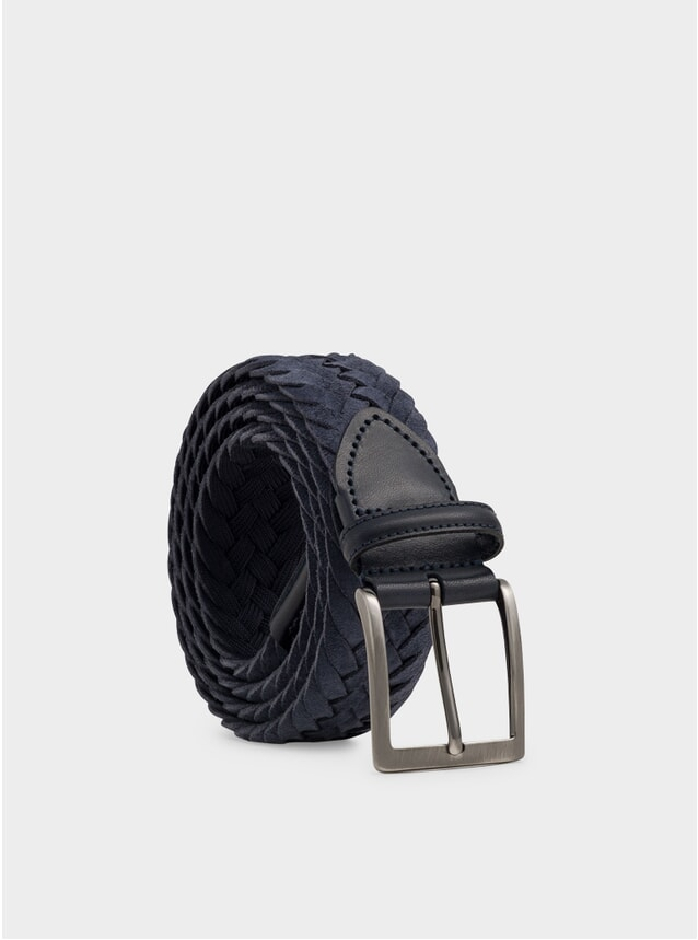 Blue Woven Suede Massimiliano Belt
