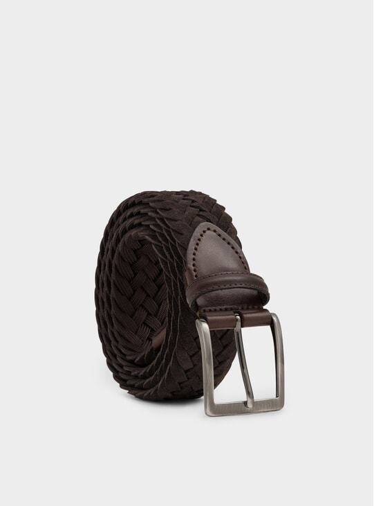 Brown Woven Suede Edoardo Belt