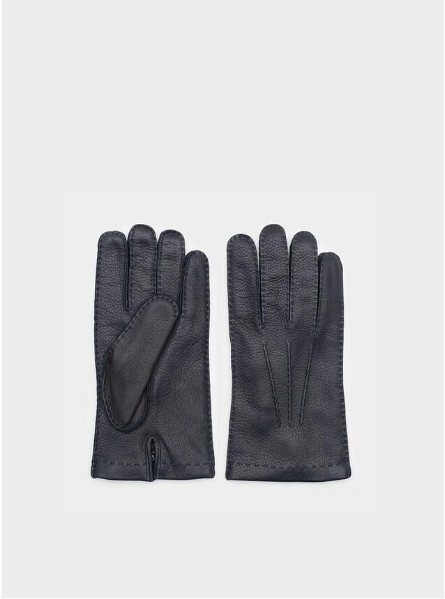 Emanuele Navy Deer Leather Gloves
