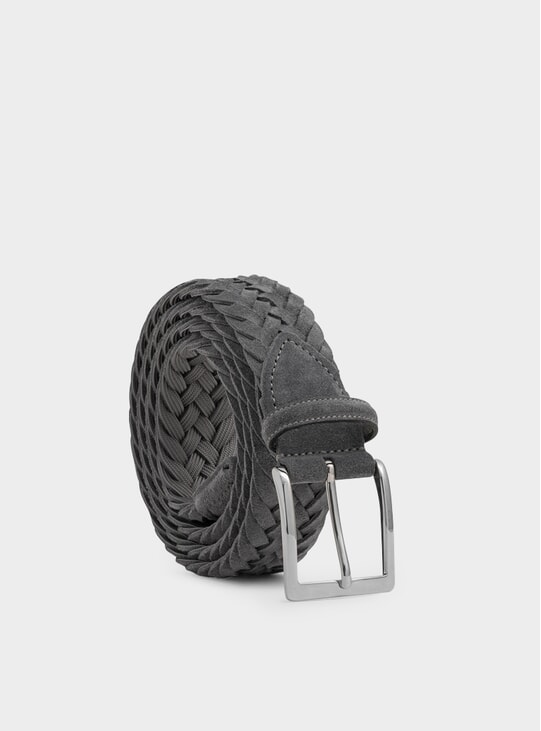 Grey Woven Suede Francesco Belt