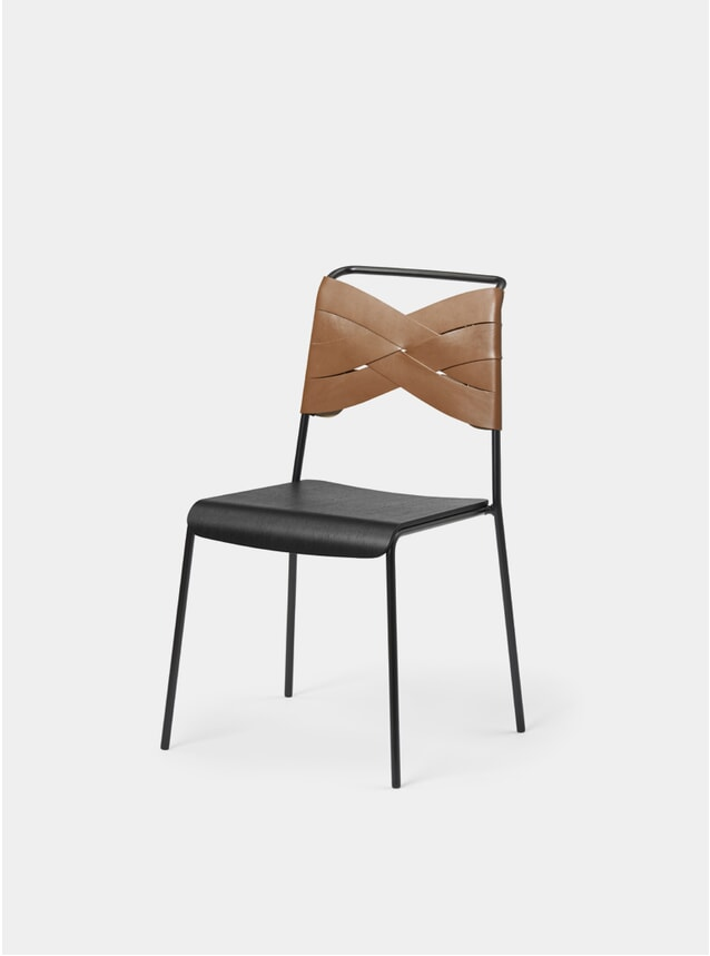 Black / Cognac Torso Dining Chair