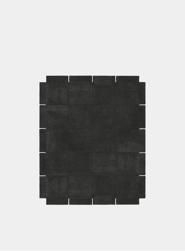 Large Dark Grey Basket Rug