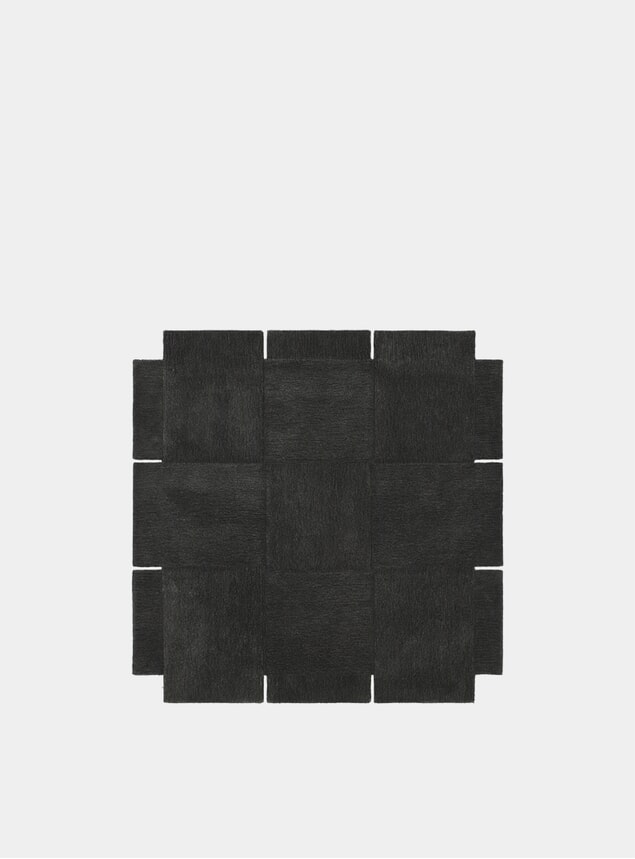 Small Dark Grey Basket Rug