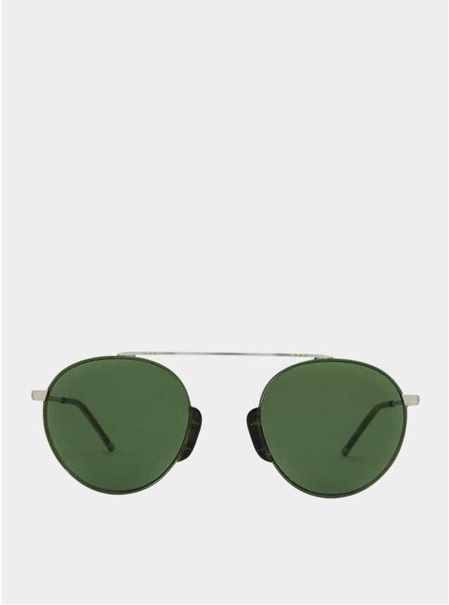 Forest Satin Silver / Green Bern Sunglasses