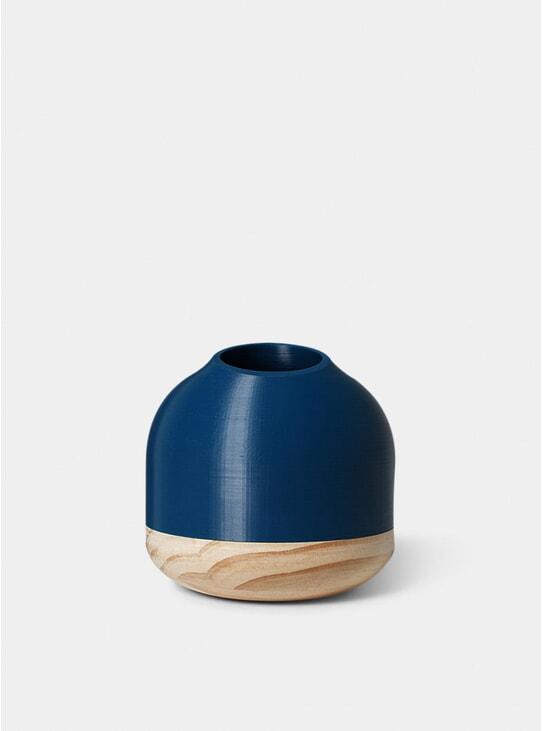 Dark Blue Half Cut Vase