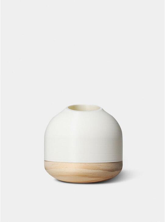 White Half Cut Vase