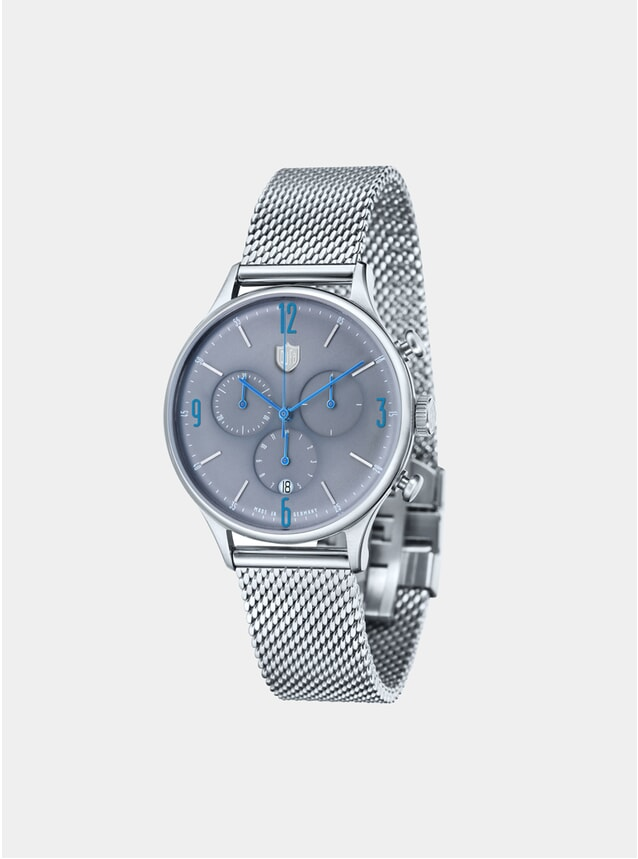 Van Der Rohe Chrono Grey Stainless Steel Mesh Watch