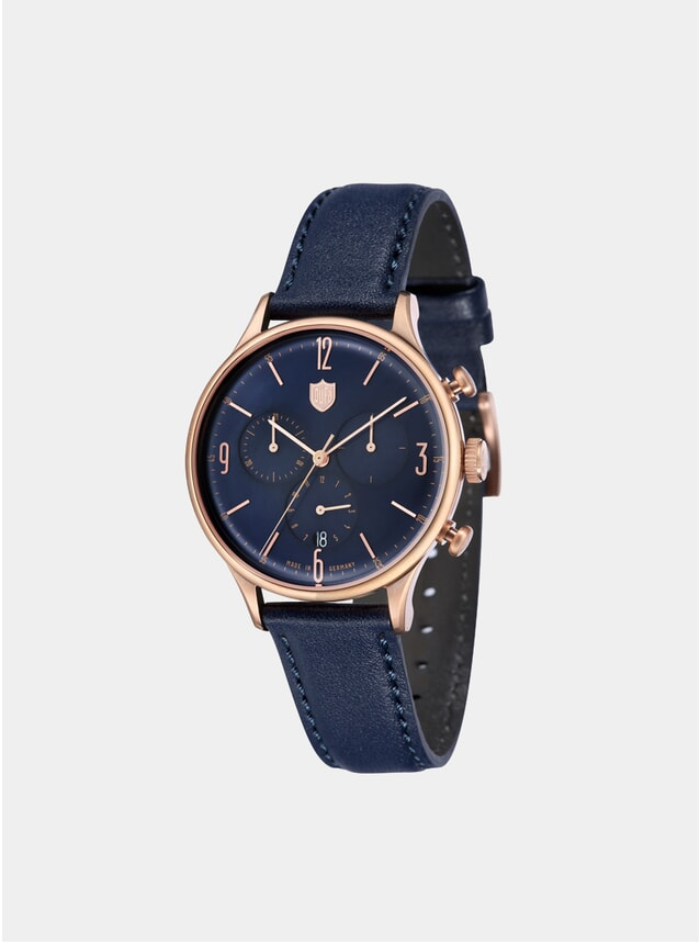 Van Der Rohe Chrono Rose Gold / Navy Watch