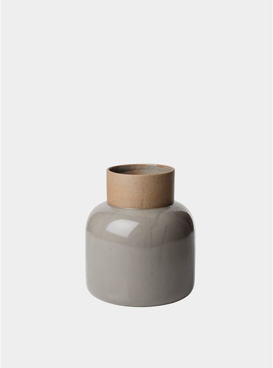 Moss Grey Earthenware Jar Vase