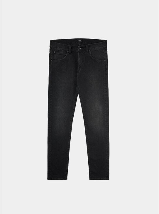 Black Slim Denim Mineral Wash ED-85 Tapered Jeans