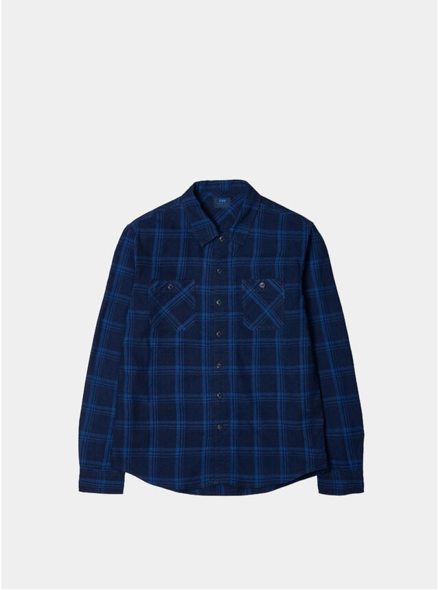 Indigo Canvas Cotton Check Cell Shirt