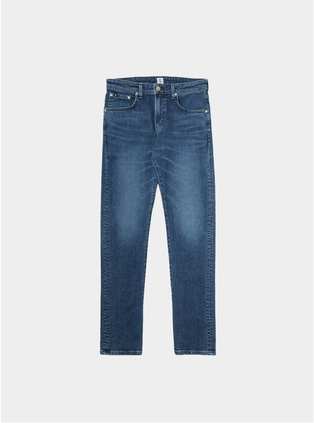 Mid Dark Used Modern Regular Tapered Jeans