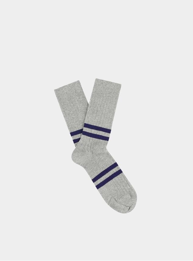 Ink / Grey Melange Striped Socks