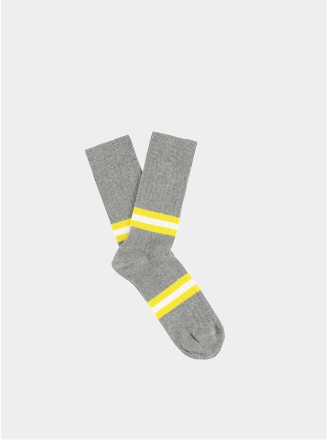 Grey Melange / Yellow Stripes Socks