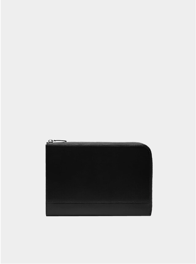 Black Medium Zip Capra Pouch