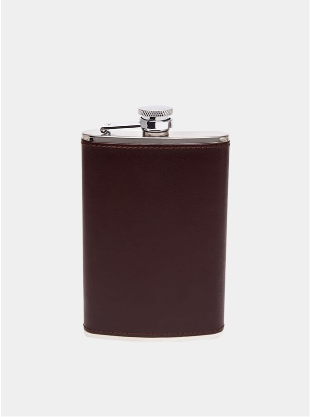 Brown / Silver 8oz Captive Top Hip Flask