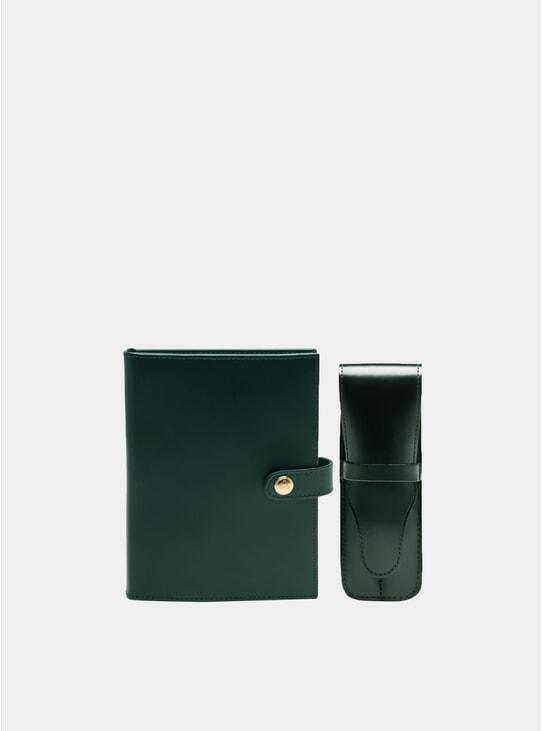 Green / London Tan Medium Notepad