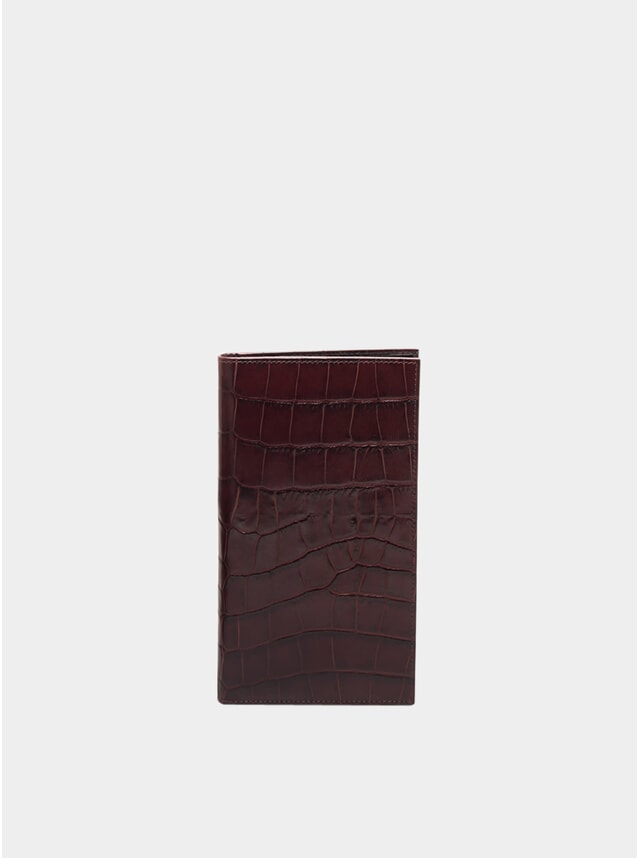 Mahogany / Black Croco Billfold Wallet