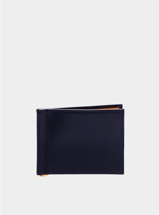 Navy / London Tan Money Clip Wallet